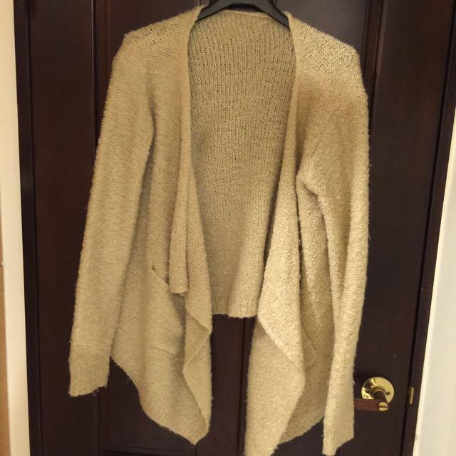 秋冬 不規則 前長後短 針織 米白 外套 罩衫 八成新