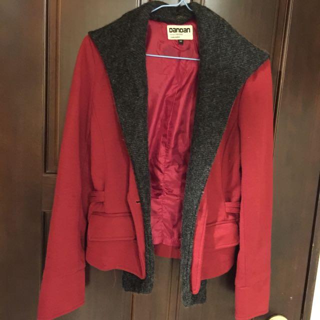 韓版 秋冬 紅西裝外套 硬挺 版型漂亮 S 號m號