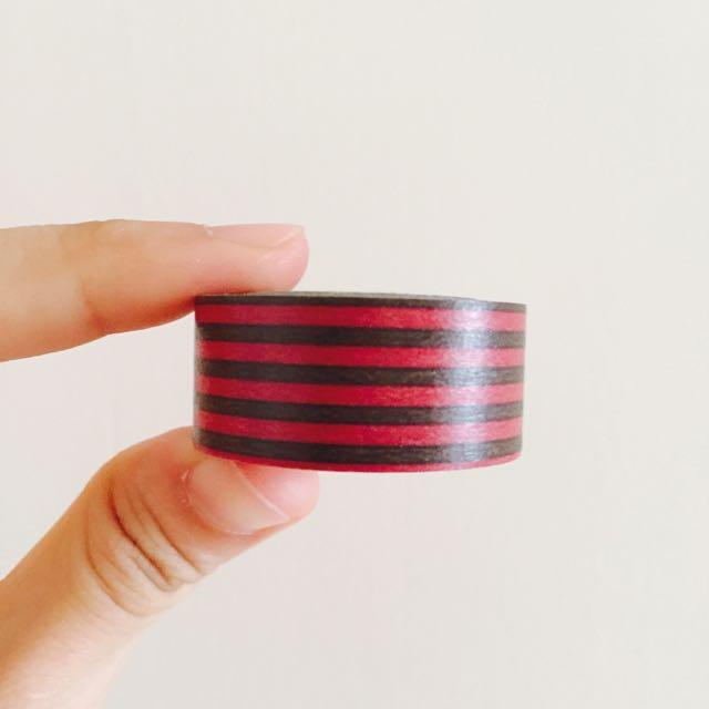 日本 MARK'S maste 桃咖啡條紋 紙膠帶