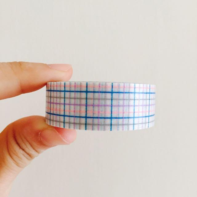 日本 MT 粉藍格紋 紙膠帶