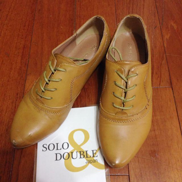 二手。日本 solo & double 綁帶尖頭牛津靴 23-23.5