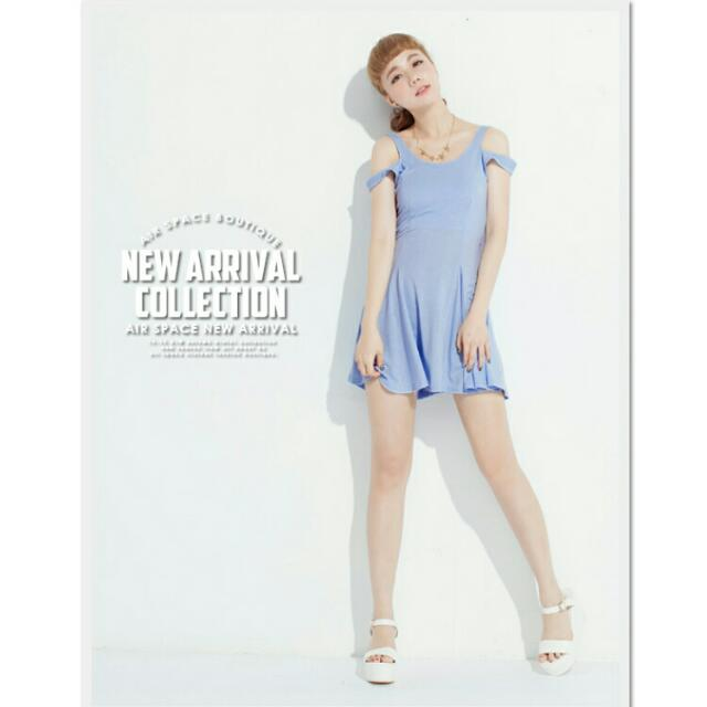 AIR SPACE 雙肩帶傘狀裙擺無袖短洋裝-甜心紫(全新)-欣衣