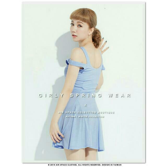 AIR SPACE 雙肩帶傘狀裙擺無袖短洋裝-好感藍(全新)-欣衣