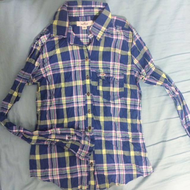 Hollister 藍黃粉格長袖襯衫