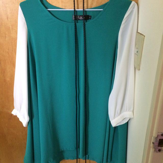 LaLa專櫃雪紡上衣(附腰帶)F Size
