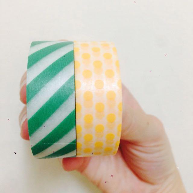 Mt 紙膠帶,橘點綠條紋
