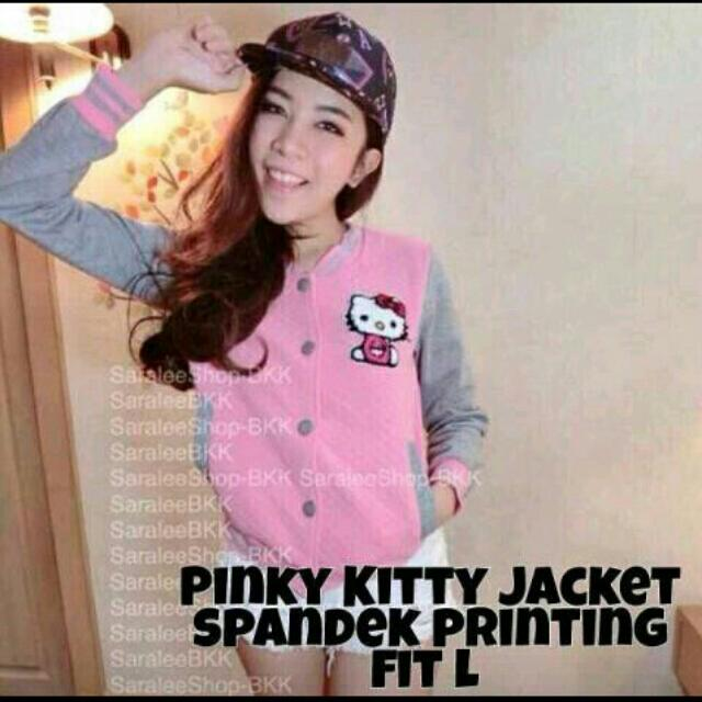 (Free ONGKIR) Pinky Kitty Jacket Fit To L