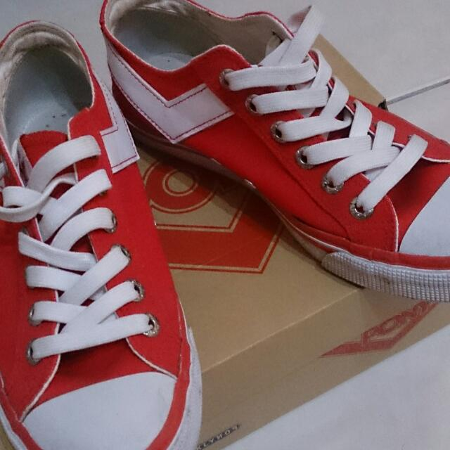 PONY大紅帆布鞋👟👟👟