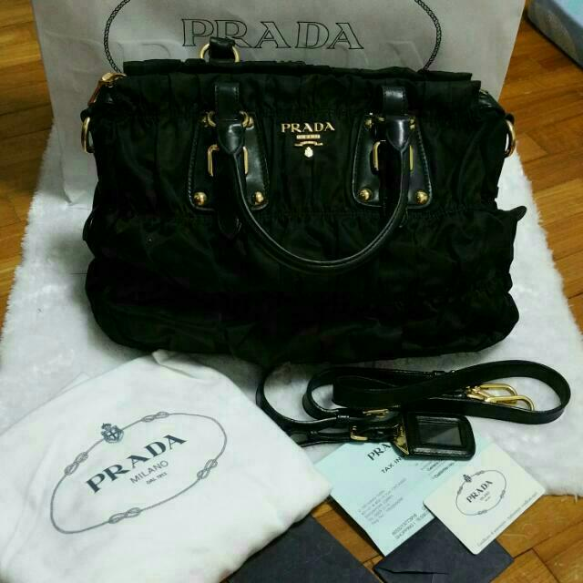 77ad830dd5ad Price Reduce Authentic Prada Tessuto Gaufre BN1336 Nero/Black, Luxury on  Carousell
