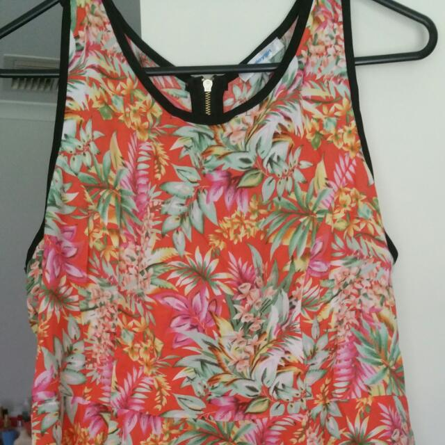 Tropical Peplum With Zip Up Back