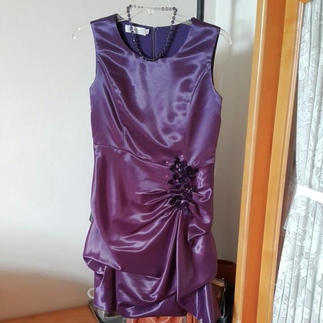 精品小禮服/晚宴服/媽媽裝-高尚紫(附項鍊)-XL