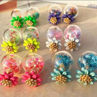 新款小雛菊玻璃氣泡耳釘氣質韓版時尚誇張耳環