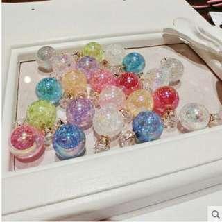 韓國時尚雙面珍珠耳釘鋯石氣質大小珍珠耳環