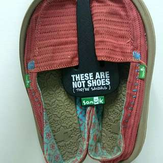 Sanuk粉色懶人鞋