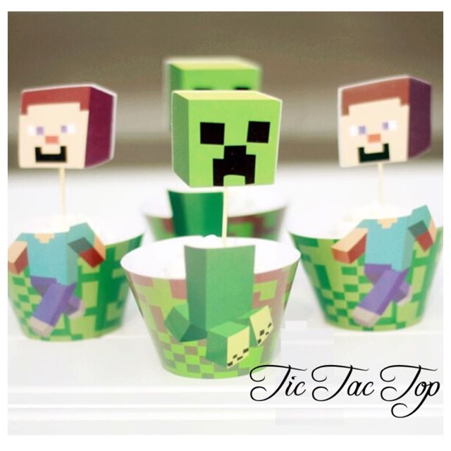 12pcs Minecraft Cupcake Wrappers + Toppers