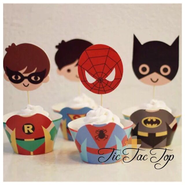 12pcs Superhero Extra Big Toppers + Wrappers