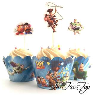 12pcs Toy Story Cupcake Wrappers + Toppers. Woody Buzz Lightyear
