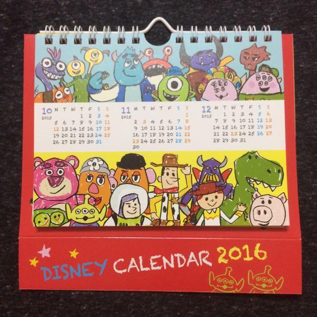 現貨1個 / 日本迪士尼限定 / 插畫風造型立體紙卡 / 玩具總動員 / 怪獸電力公司 / 2016桌曆/掛曆/月曆