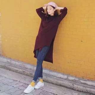 2015年秋裝歐美款長版針織上衣