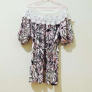 全新-韓版 蕾絲雪紡上衣