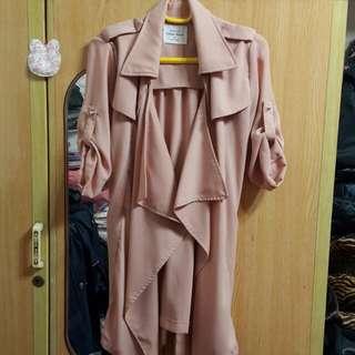 豆粉色 雪坊 外套 五分 罩衫