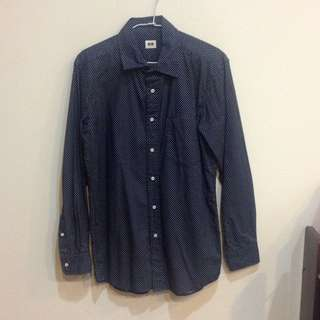 🔸待匯🔸[全新]男版 Uniqlo深藍白點襯衫