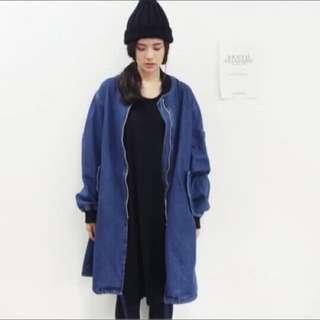 2015年秋裝韓風大男孩長版單寧外套
