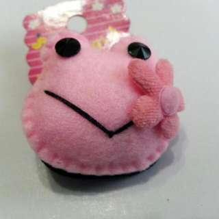淡粉紅青蛙髮飾髮束髮圈