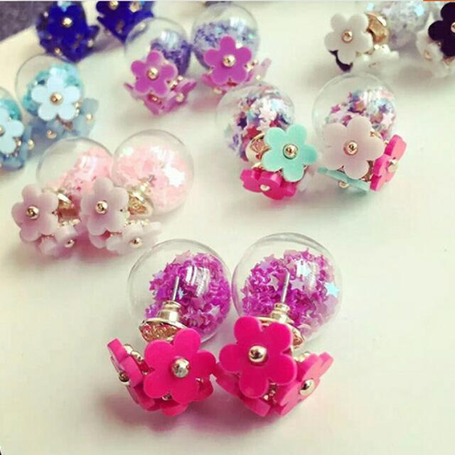 時尚韓國小雛菊花朵五角星玻璃氣泡耳釘雙面後掛式耳環