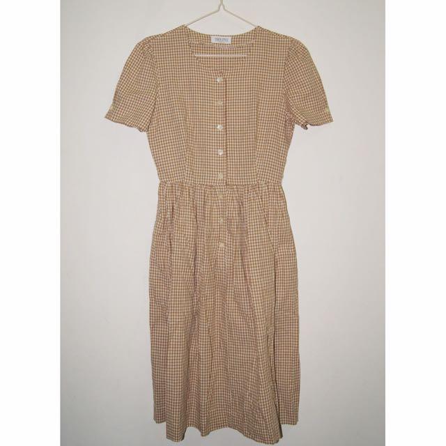 古著褐色細緻小格紋短袖洋裝(有口袋)