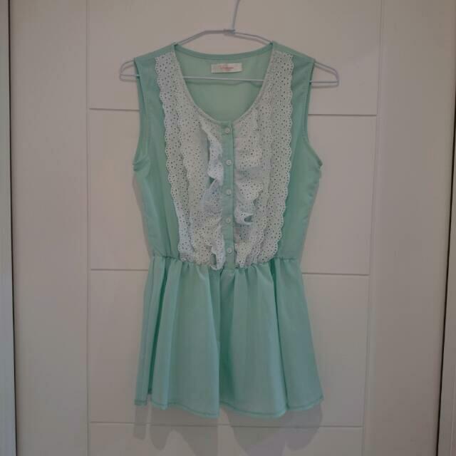 (正韓)果綠色無袖雪紡洋裝(二手)-欣衣