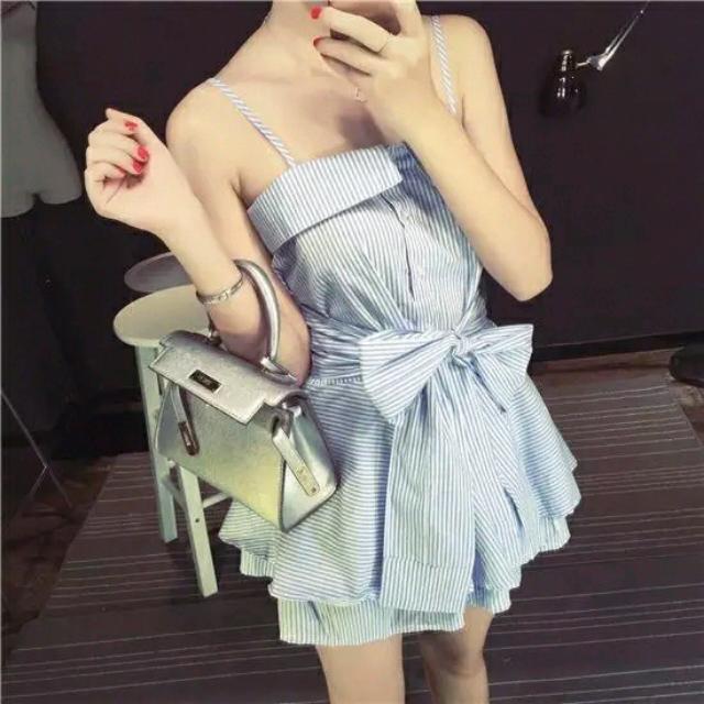 綁帶襯衫裙
