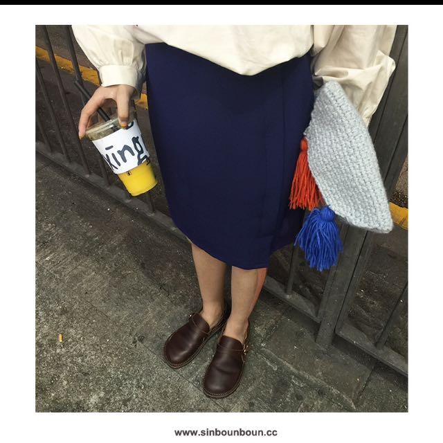 韓國純色中長包臀裙