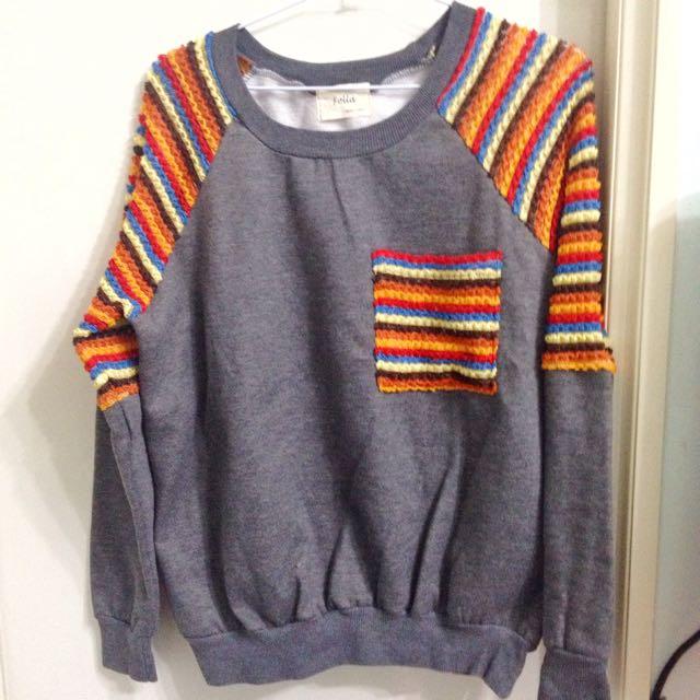 韓國製 鐵灰色鋪棉上衣