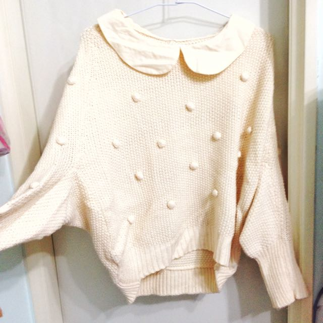 Lulu's 甜美米白飛鼠慵懶袖針織上衣