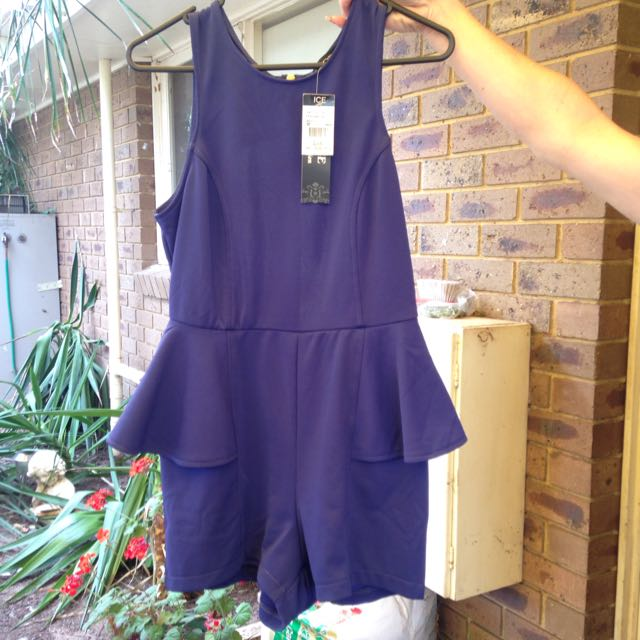 Navy Blue Backless Play suit: Size M