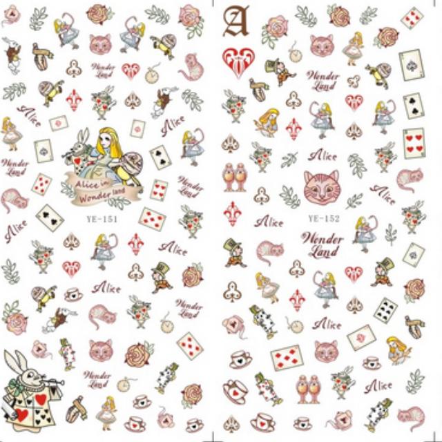 美甲水印貼YE151-153 彩色愛麗絲(滿10張免運)