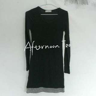 韓合身T恤內搭棉質下擺深灰配淺灰長版上衣洋裝