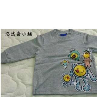 全新品-WHY AND 1/2 灰色餅乾怪獸Cookie Monster 長袖T恤 80CM 特價350元