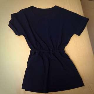 深藍色 長版收腰上衣