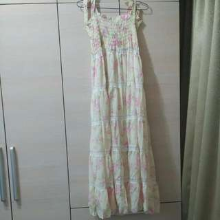 🚚 日系蕾絲雪紡長洋裝