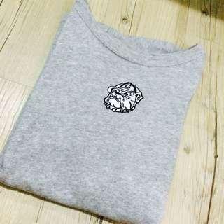 動物刺繡灰色短踢