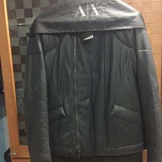 (降價) AX ARMANI EXCHANGE 義大利名品 皮衣 黑色 柔軟羊皮 L號 修身立體設計 優質大氣經典