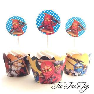 12 Lego Ninjago Cupcake Toppers + Wrappers