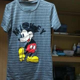Mickey條紋短袖上衣(灰色)