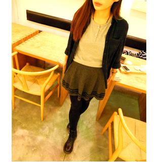 針織網球短裙/學生制服裙 淺灰/深灰