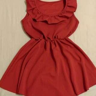 韓版紅色荷葉邊洋裝