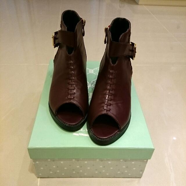 (正韓)酒紅色魚口側拉鏈踝靴38/24號 #欣鞋
