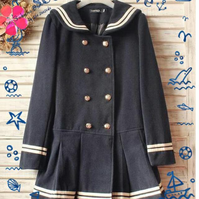 (保留)日系海軍領學院風蝴蝶結百摺裙外套*暖冬厚款*9.5成新*