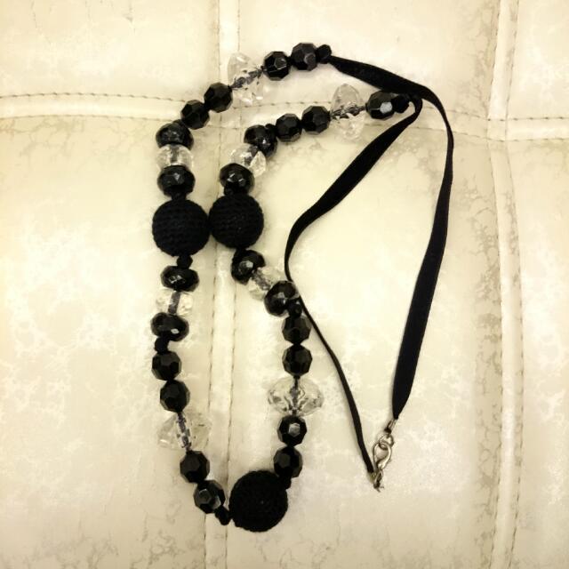 黑色針織串珠項鍊(二手)#欣飾品